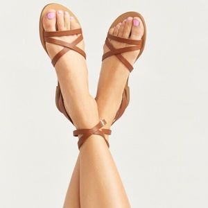 Steven Steve Madden Matas Leather Sandals Brown
